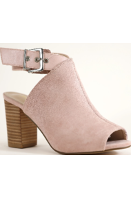 Peep toe chunky heel sandals in blush