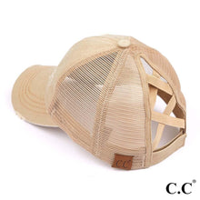 Load image into Gallery viewer, C.C. Criss Cross Distressed Pony Cap - Tan