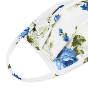 White Floral Print Pleated T-Shirt Cloth Face Mask