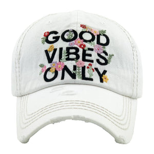 Good Vibes Only Distressed Baseball Cap- White