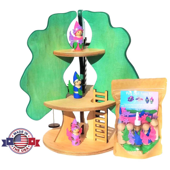 Wooden fairy tree house toy for dolls peg doll fairy craft kit Made in the USA