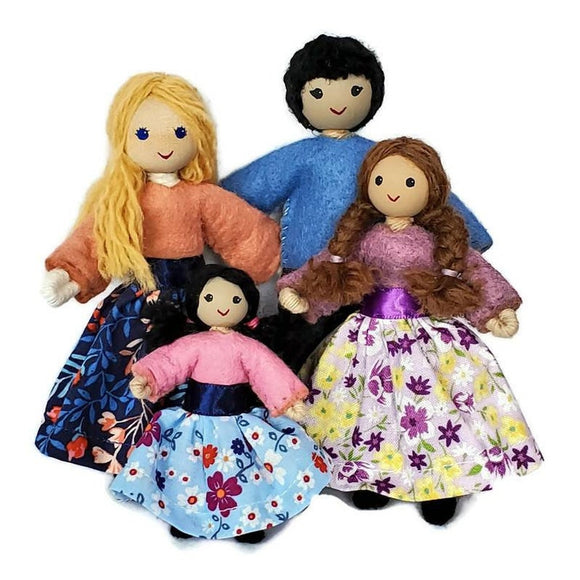 African American Black Dollhouse Family Dolls