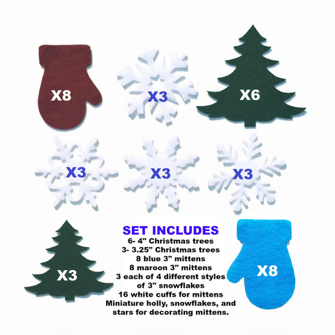 Felt winter shapes felt mittens felt Christmas trees felt snowflakes