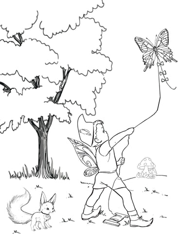 fairy kite coloring page
