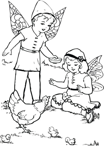 Fairy and chicken coloring page