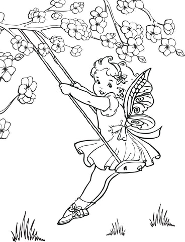 Fairy swing coloring page
