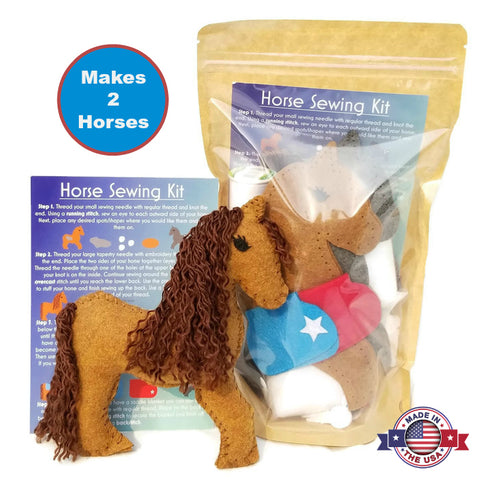 Stuffed horse felt sewing kit for kids