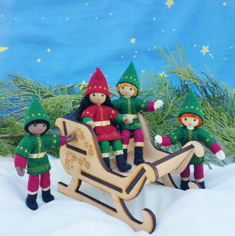 Kindness Elves in Wooden Santa Sleigh