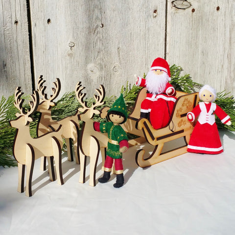 Kindness Elves with Santa, Mrs Claus, sleigh and reindeer
