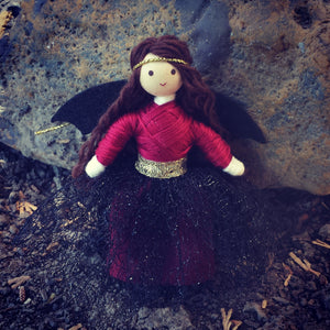 Fairy doll red and black with bat wings Wildflower Toys Handmade at Amazon