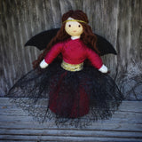 Fairy doll red and black with bat wings Wildflower Toys handmade