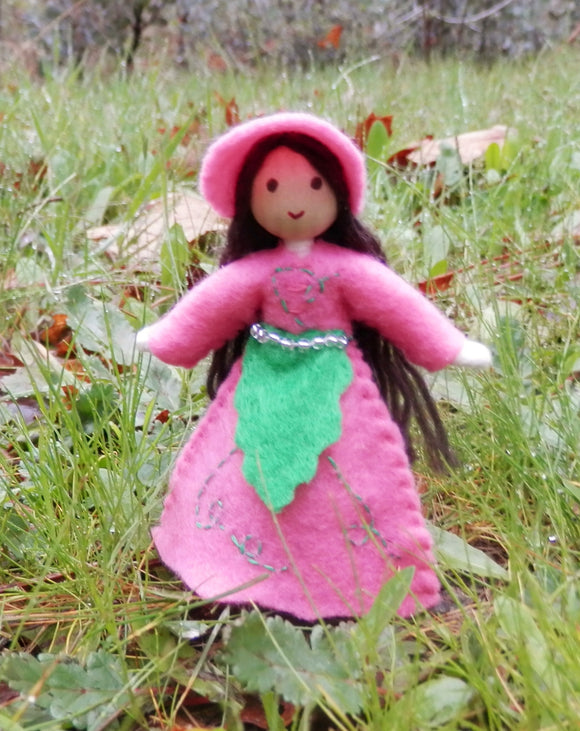 April Birthday Month Flower Doll - Sweet Pea - Handmade Miniature Waldorf Inspired Flower Fairy -Dollhouse Bendy Doll