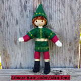 Holiday Caring  Elves Boy Dark Brown Hair