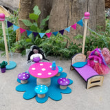 wooden Fairy bed miniature fairy Furniture toy fairy table