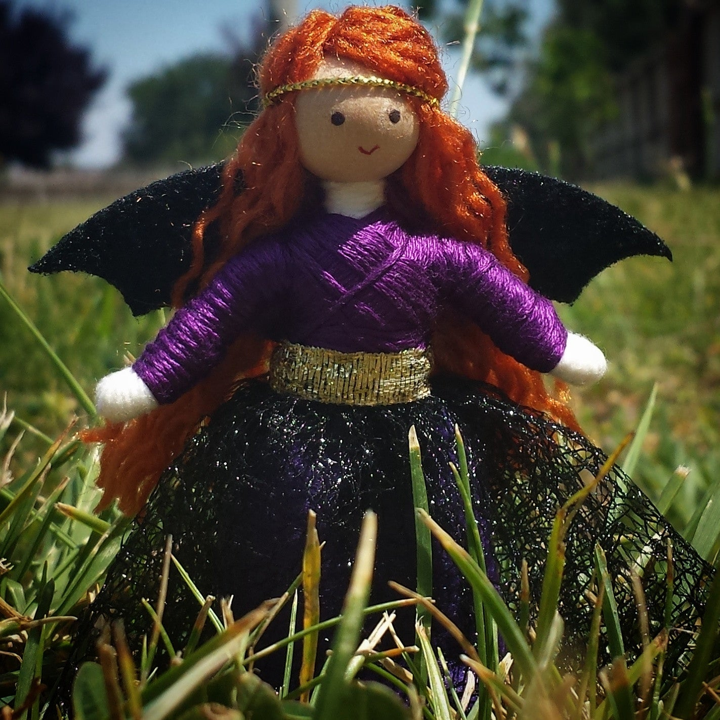 Fairy doll with bat wings handmade Wildflower Toys