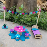 wooden Fairy bed miniature fairy Furniture toy fairy table mushroom