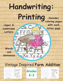 Handwriting: Printing Vintage Inspired Farm Addition Grades P-K-1: Upper, lowercase, words & sentences