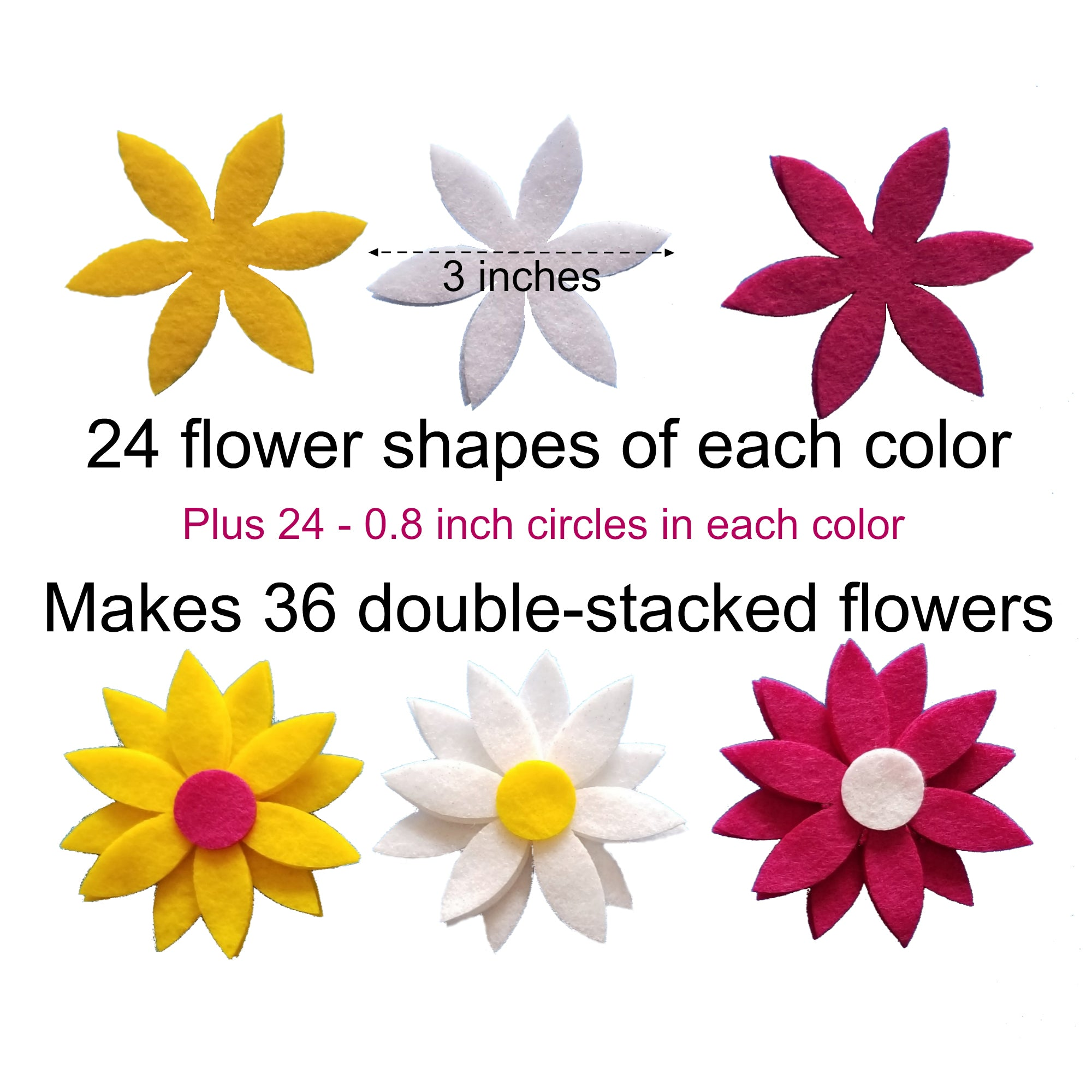 3 Inch Felt Daisy Flower Shapes Wildflower Toys