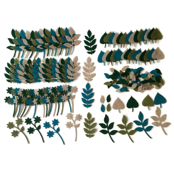 Felt leaves for crafts Kelly green, olive green, sandstone, aqua