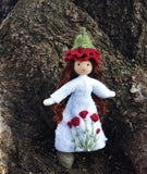 January Birthday Month Flower Doll - Carnation - Handmade Miniature Waldorf Inspired Flower Fairy -Dollhouse Bendy Doll