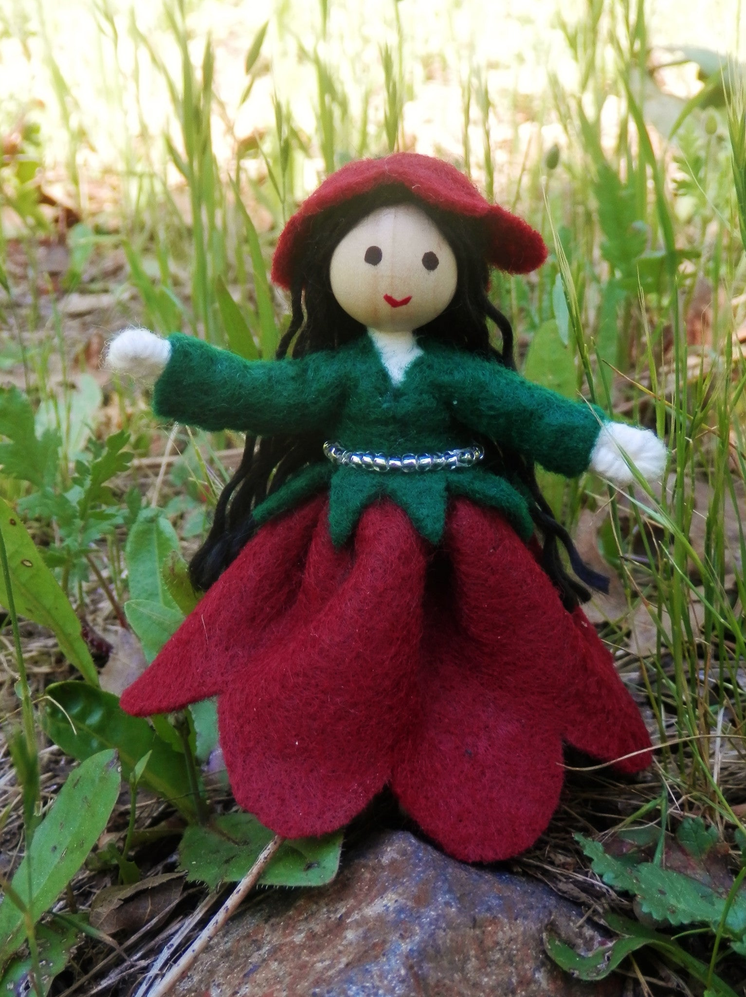 June Birthday Month Flower Doll Rose Handmade Miniature Waldorf