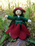 June Birthday Month Flower Doll - Rose - Handmade Miniature Waldorf Inspired Flower Fairy -Dollhouse Bendy Doll Made in America