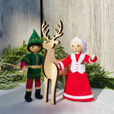 Kindness Elves with Mrs. Claus and wooden reindeer