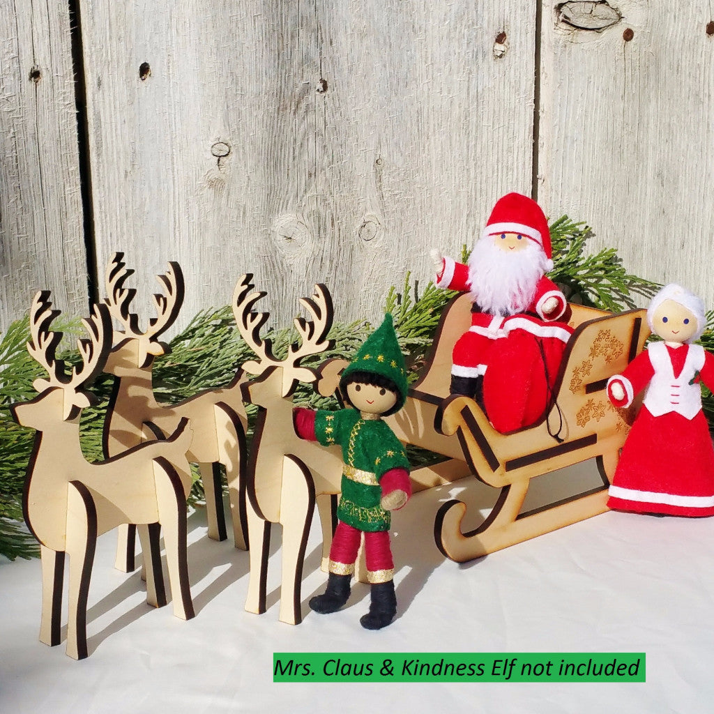 Santa Claus and Mrs. Claus Dolls with Wooden sleigh and reindeer