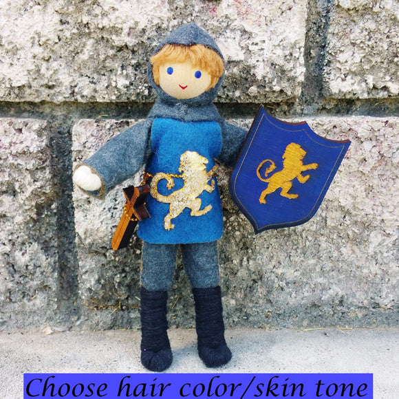 Dollhouse Castle Knight Doll (blue tunic)