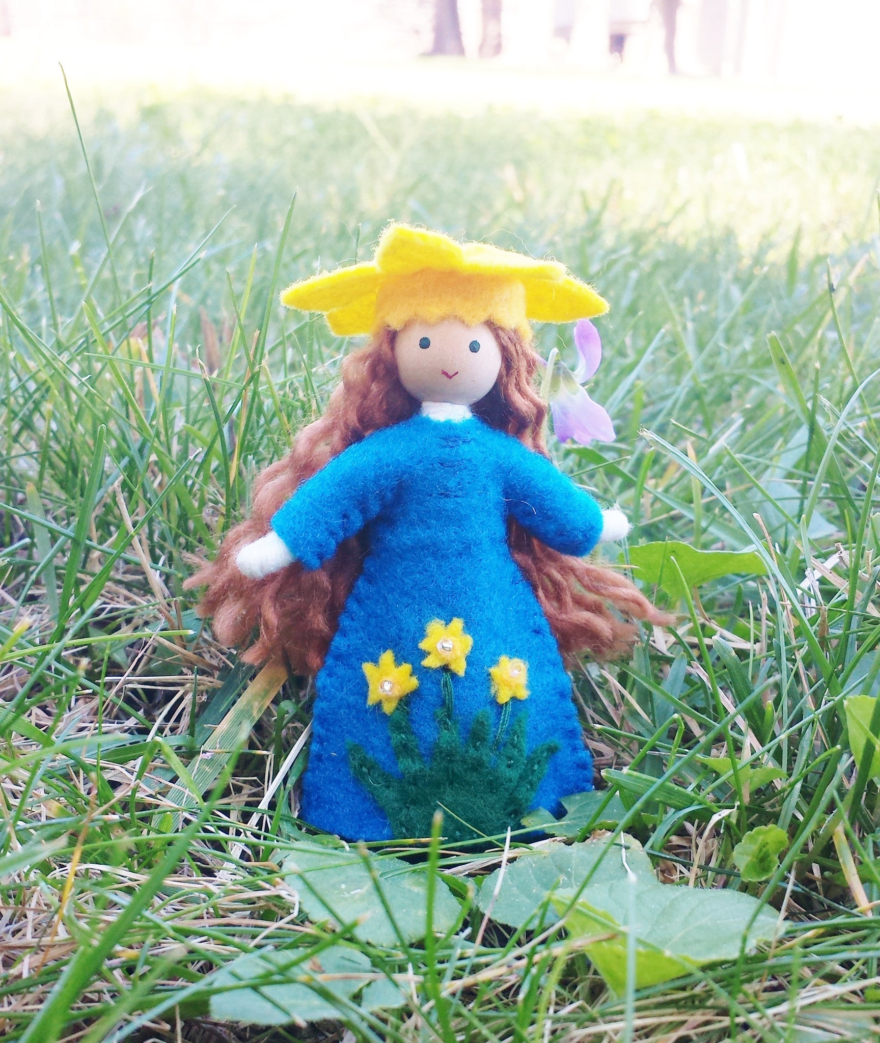 March Birthday Month Flower Doll - Daffodil - Handmade Miniature Waldorf Inspired Flower Fairy -Dollhouse Bendy Doll Wildflower Innocence