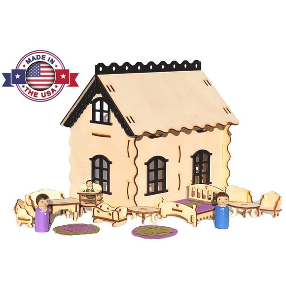 Small Wooden Peg Doll Dollhouse Playset
