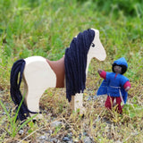 Wooden horse toy animal and miniature fairy doll