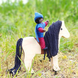 Fairy doll riding Wooden animal toy horse black mane