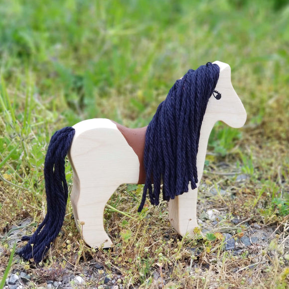 wooden animal toy horse black mane