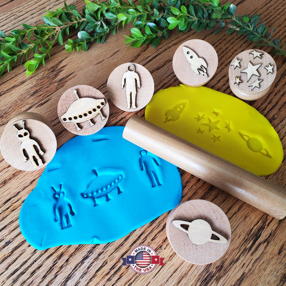 Outer space wooden playdough stamps Play-Doh stampers Made in the USA