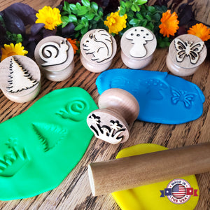 Wooden playdough stamps Play-Doh stampers Made in the USA