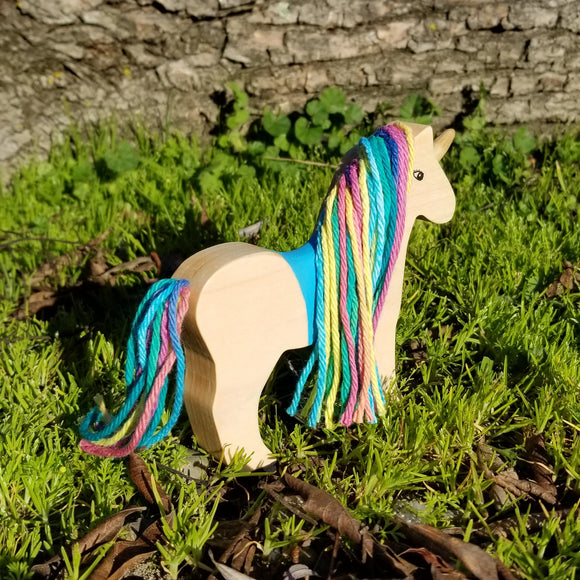 Wooden Unicorn Toy Rainbow Mane