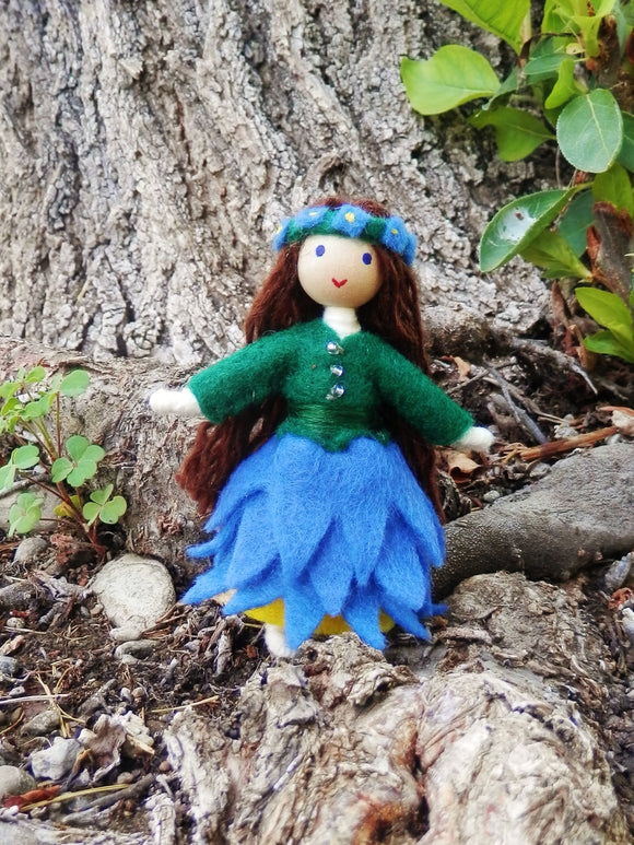 September birthday Month Flower doll Handmade Miniature Waldorf Inspired Flower Fairy -Dollhouse Bendy Doll