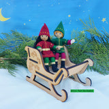 Wooden Sleigh with kindness Elves
