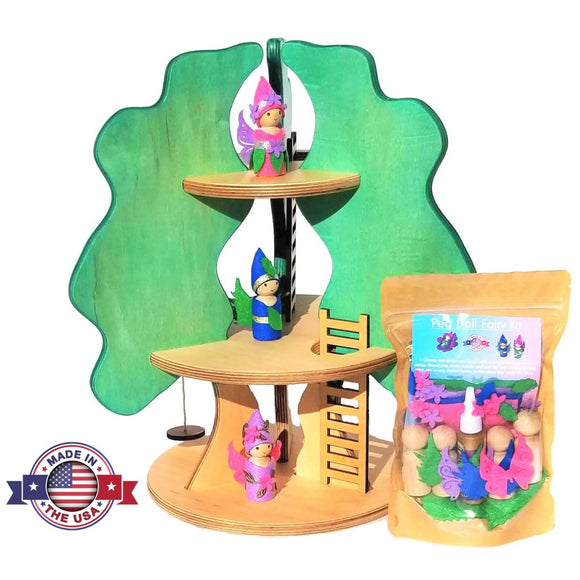 Wooden tree house toy for dolls fairy peg doll kit