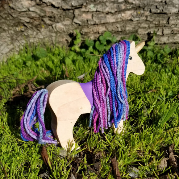 Wooden Unicorn Toy Purple Mane