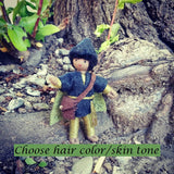 Black fairy doll boy handmade by Wildflower Toys