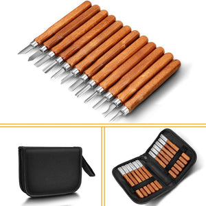 chiimoda wood Carving Tools,  12 Set SK2 Carbon Steel Sculpting Knife Kit for Beginners & Professions