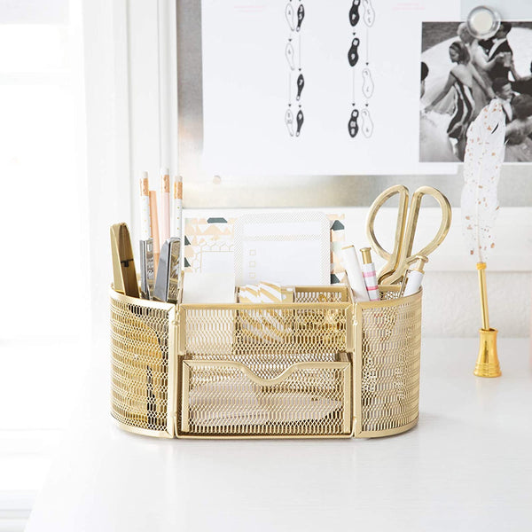 CMLOKWLA Beautiful Gold Desk Organizer - Made of Metal with Gold Finish - Gold Desk Accessories - Storage for Paper and Office Supplies - Desk Organizer Gold - Storage for Home or Office