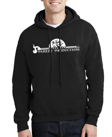 man wearing black hoodied sweatshirt with large parker productions logo on chest