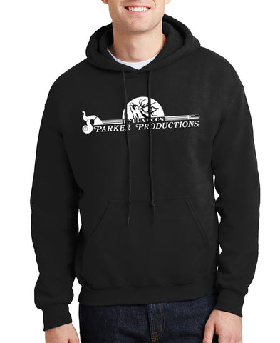 man wearing black hoodie displaying large parker productions logo on chest