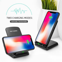 Load image into Gallery viewer, 10W Dual Coils Qi Wireless Charger Fast Charging Phone Holder For Qi-enabled Devices iPhone Samsung Huawei Xiaomi