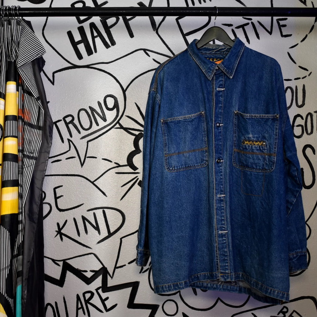 Vintage 90s Paco Long Denim Jacket 2XL