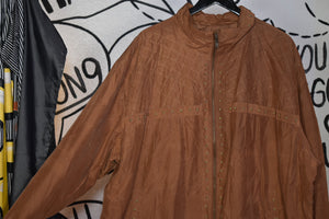 Vintage 90s Caramel Studded Windbreaker XL