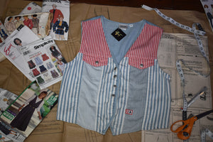 Vintage 90s Red, White, & Blue Striped Vest M